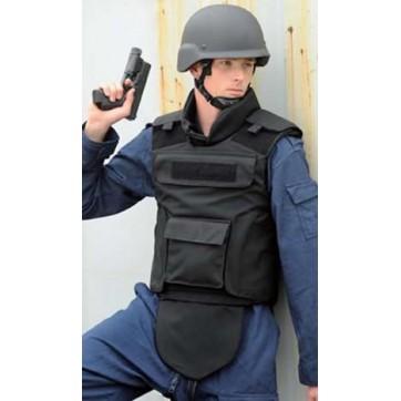 Gilet pare balles modèle ARMEE NOIR - Niveau IIIA avec protection entre jambe rétractable + protection du cou